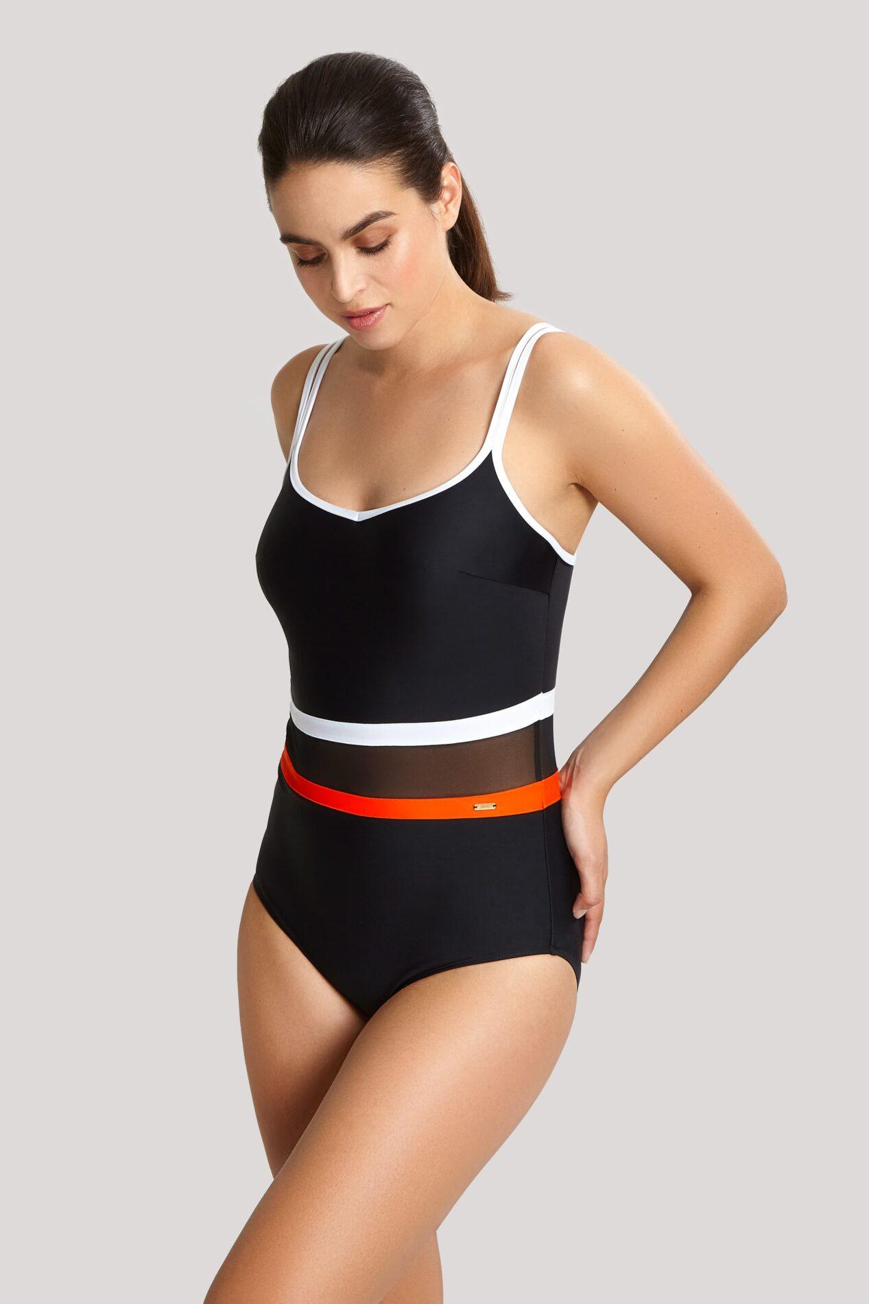 Купальники SW1380_879_1 Kira Balconnet Swimsuit Black Orange T F 1-min